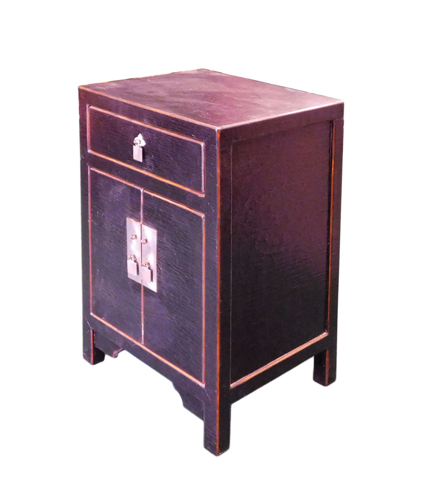 Chinese Black Fabric Lacquer End Table Nightstand   Image 3 Of 6