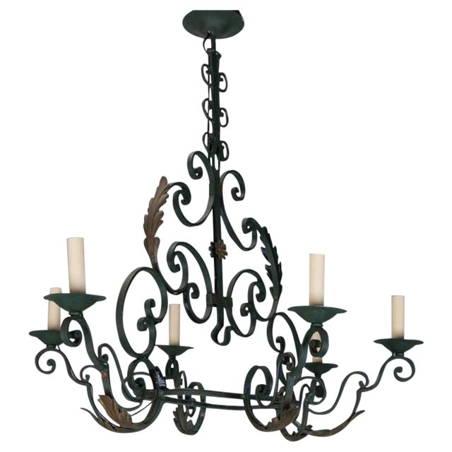 French 6-Light Green Wrought Iron Chandelier - Image 1 of 5