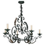 Image of French 6-Light Green Wrought Iron Chandelier