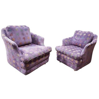 Barrel Back Purple Upholstered Lounge Chairs- A Pair