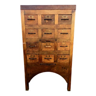 Vintage 12-Drawer Wooden Library Card Catalogue