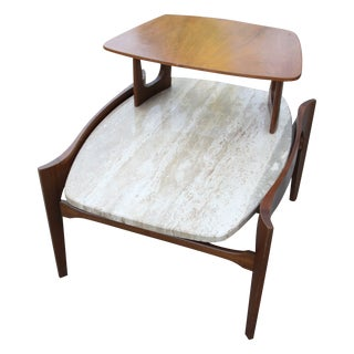 Bertha Schaefer Walnut & Travertine Side Table