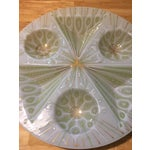 Image of Rare Higgins Art Glass Vintage White Peacock Tray