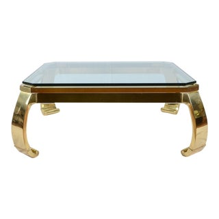 Karl Springer Inspired Brass and Glass Ming Coffee Table
