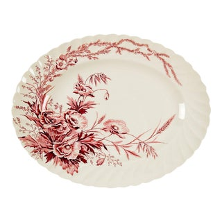 English Red Transferware Platter