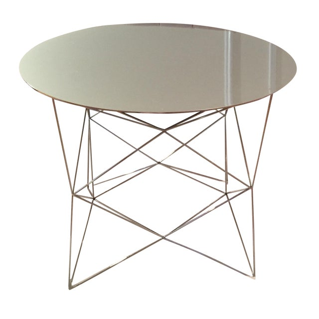 West elm round polished steel coffee table chairish for West elm c table
