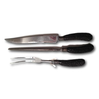 Vintage Faux Horn Stainless Steel Carving Set - 3 Pcs.
