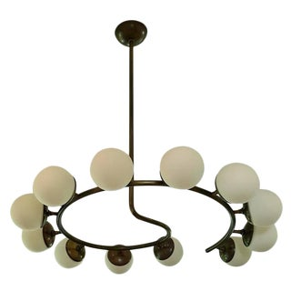 12 Globe Italian Modern Brass Chandelier by Studio Machina
