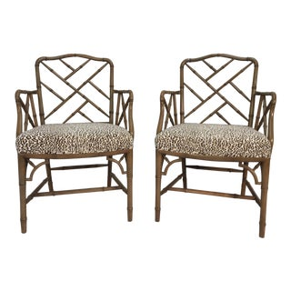 Chinese Chippendale Style Armchairs - a Pair