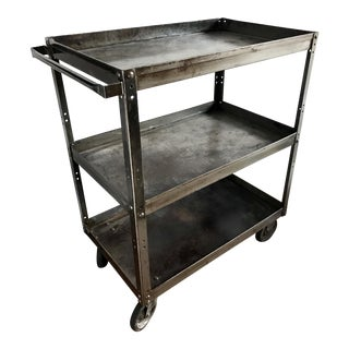 Antique Industrial Metal Trolley Bar Cart