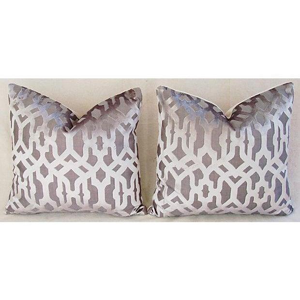 Designer Gray Geometric Trellis Pillows - A Pair - Image 7 of 8