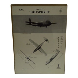 "Vintage ""Hotspur II"" WWII Aircraft Recognition Poster Circa 1944"