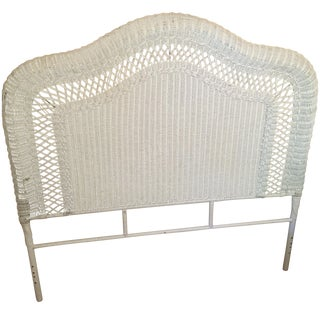 Vintage French Provincial Full Wicker Headboard