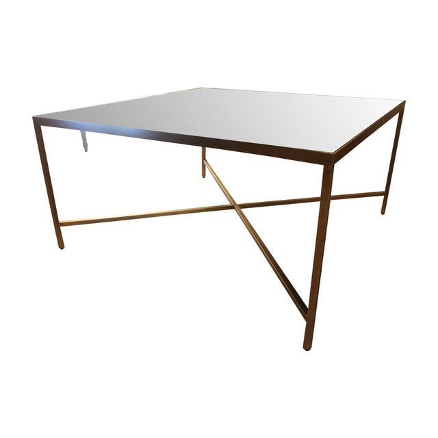 Gold metal base mirrored top square coffee table chairish Gold metal coffee table