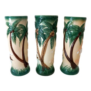 Vintage Harveys Hula Girl Palm Tree Tiki Mugs - 3