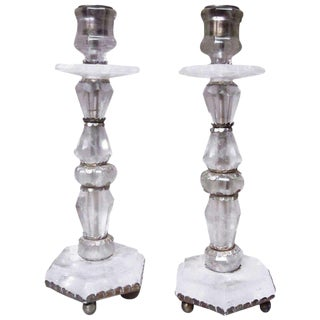 A Pair of French Rock Crystal Candlesticks