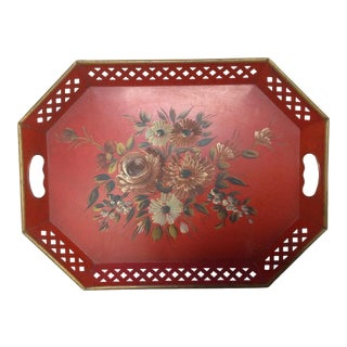 Pierced & Painted Red Tole Tray