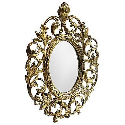 Victorian-Style Brass Mirror - Image 1 of 5