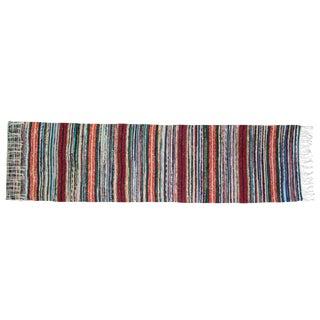 Swedish Handwoven Striped Rug - 3′6″ × 8′11″