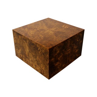 Burl Wood Cube Coffee Table by Milo Baughman