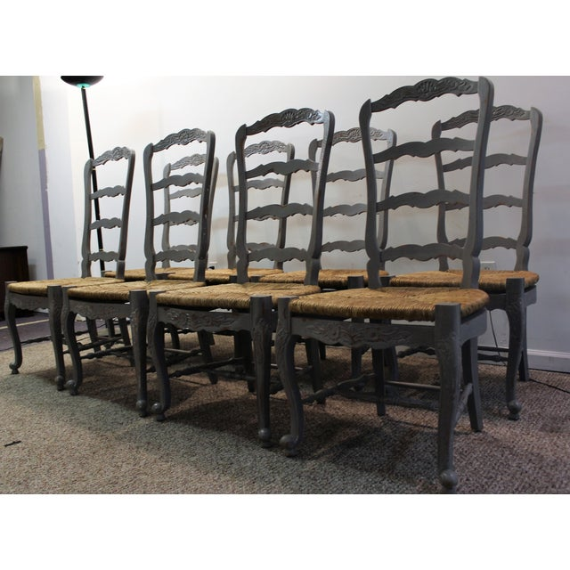 Country French Rush Seat Dining Chairs - Set of 8 - Image 3 of 8