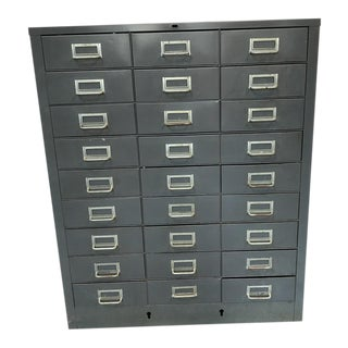Vintage Industrial 27-Drawer Storage Unit