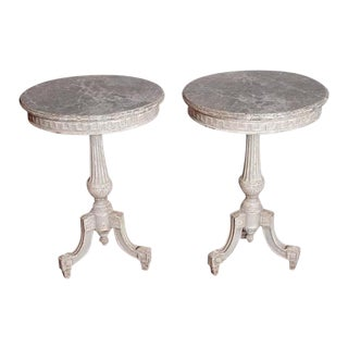 Pair of 19th Century French Louis XVI Carved Painted Gueridons With Faux Marble