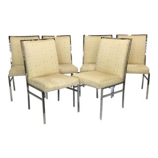 Chrome Upholstered Dining Chairs After Milo Baughman - Set of 6