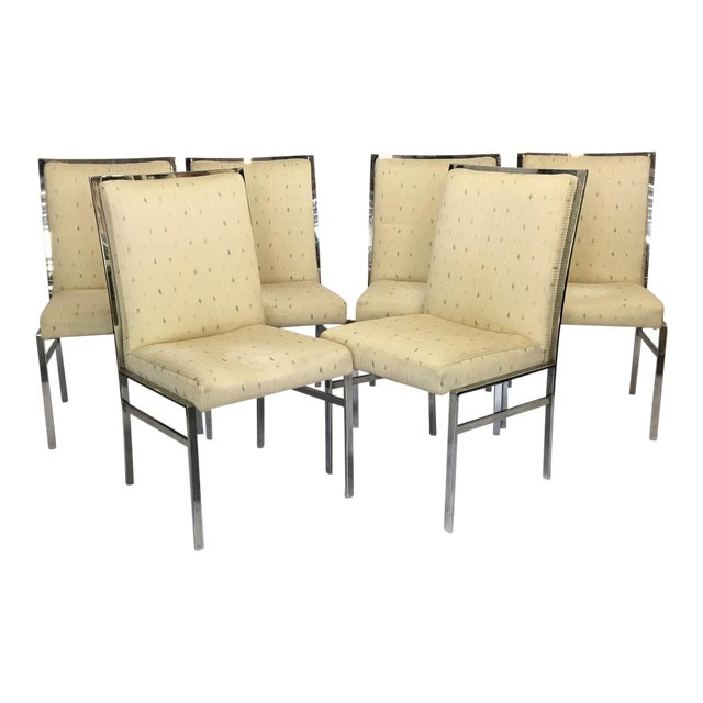 Image of Chrome Upholstered Dining Chairs After Milo Baughman - Set of 6