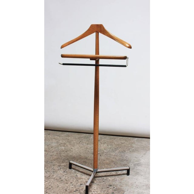 Image of Mid-Century Chrome and Pine Tripod Valet