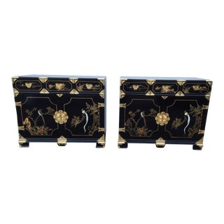 Asian Style Low Painted Black & Gold Cabinets - A Pair