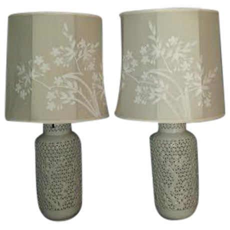 Reticulated Blanc de Chine Lamps - A Pair - Image 1 of 6