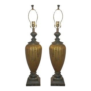 Hollywood Regency Style Gold & Black Table Lamps- A Pair