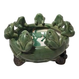 Ceramic Green Frog Planter