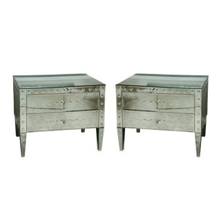 Pair of Italian Exquisitely Made Mirrored 2-Drawer Bedside Commodes