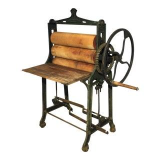 Antique Inudstrial Metal & Wood Wringer Desk