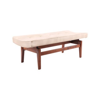 Jens Risom Walnut and Upholstered Bench