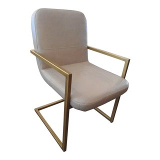 Gray Leather Gold Brass Frame Armchair