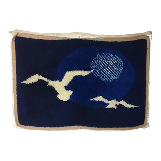 Vintage Seagull Motif Latch Hook Rug Wall Hanging