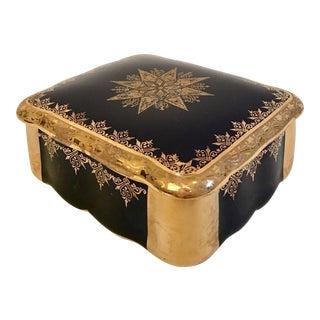 Vintage Limoge France Porcelain Cobalt & 22k Gold Box