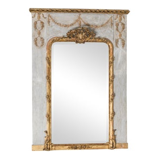 Antique French Louis XVI Style Painted Trumeau Mirror circa 1890
