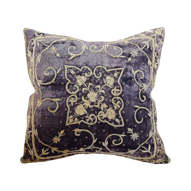 Embroidered Purple Velvet Pillow - Image 1 of 5