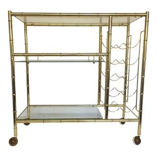 Mid-Century Modern Brass-Plated Faux Bamboo Bar Cart