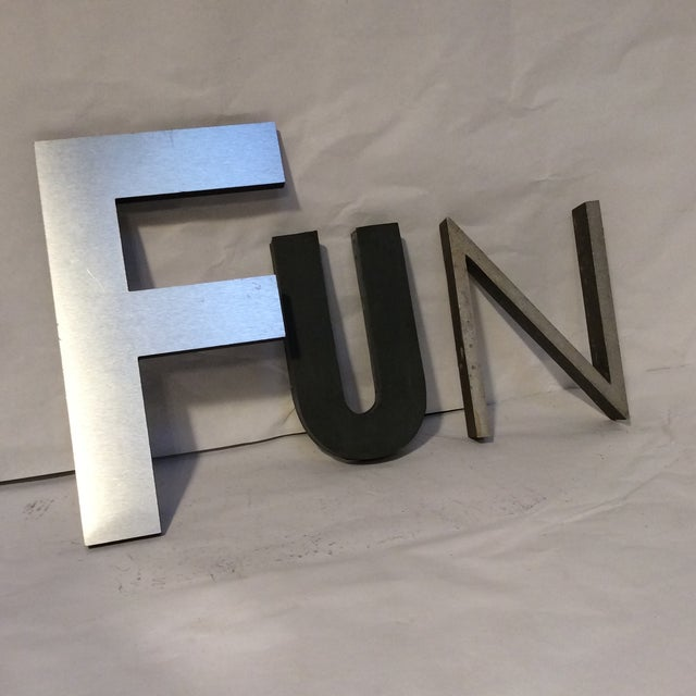 Vintage quotfunquot metal letters set of 3 chairish for Where can i buy metal letters