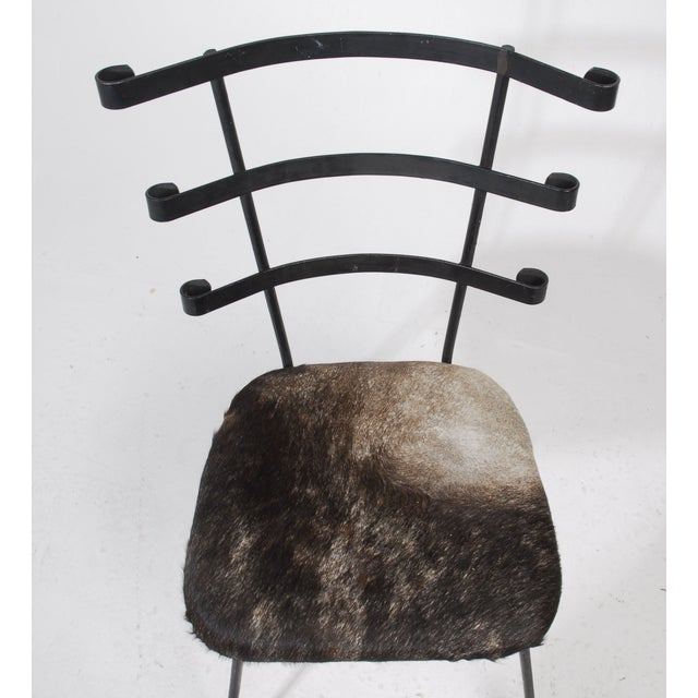 1950s Modernist Iron Side Chair with Cowhide Seat - Image 4 of 7