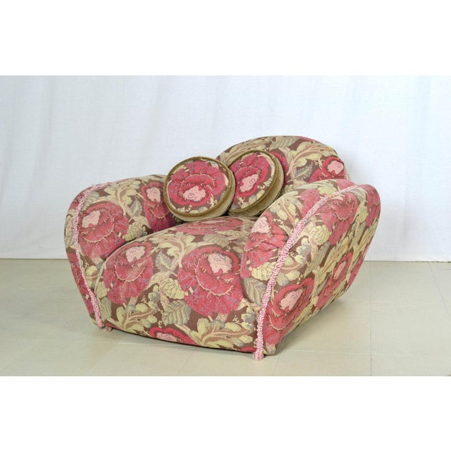 Image of Phyllis Morris Floral Swivel Lounge Chair With Ottoman