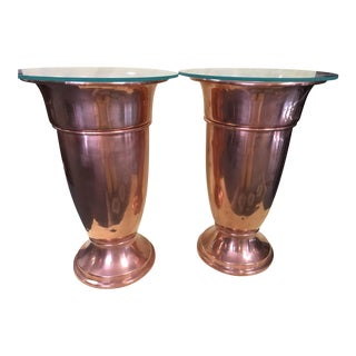 Mid-Century Copper Urns/Side Tables - Pair