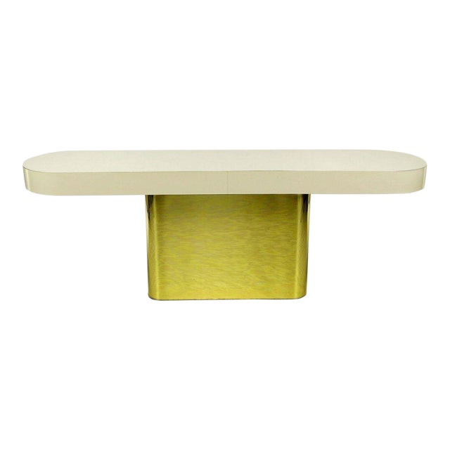 Image of Milo Baughman Brass Base Console Table With Matching Benches