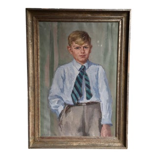 Large European Portrait Painting Dated