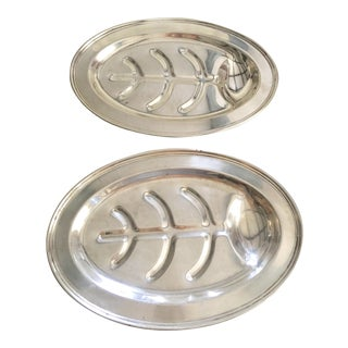 Ray E Dodge Silver-Plate Platters - A Pair